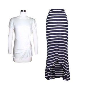 Loveappella Striped Blue & White Hi-lo Maxi Skirt
